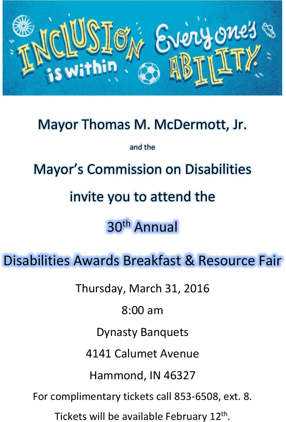 30th Annual Disabilities Awards Breakfast and Resource Fair
