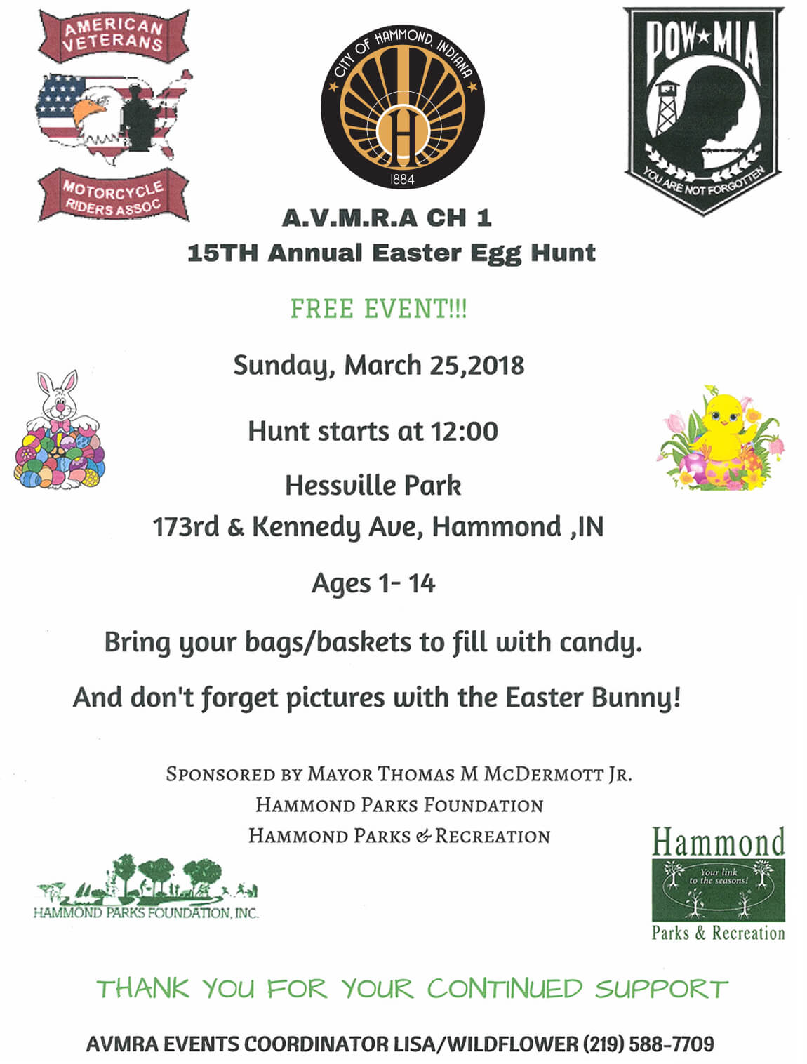 American Veterans Motorcycle Riders Association, Hammond Parks & Recreation and Hammond Parks Foundation invite you to attend our 15th Annual Easter Egg Hunt.