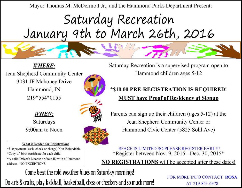 Saturday Recreation for Kids Starts in January