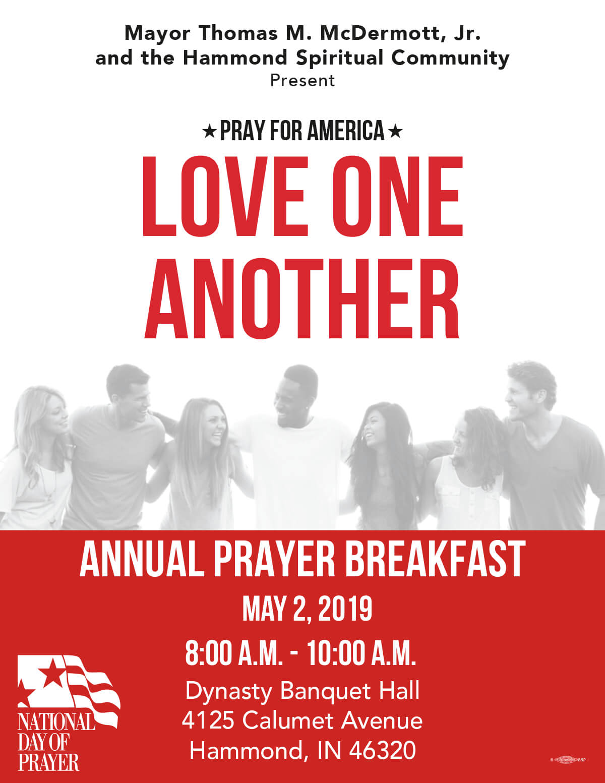 Mayor Thomas M. McDermott, Jr. and the Department of Community Development, will host the 2019 Annual National Day of Prayer.