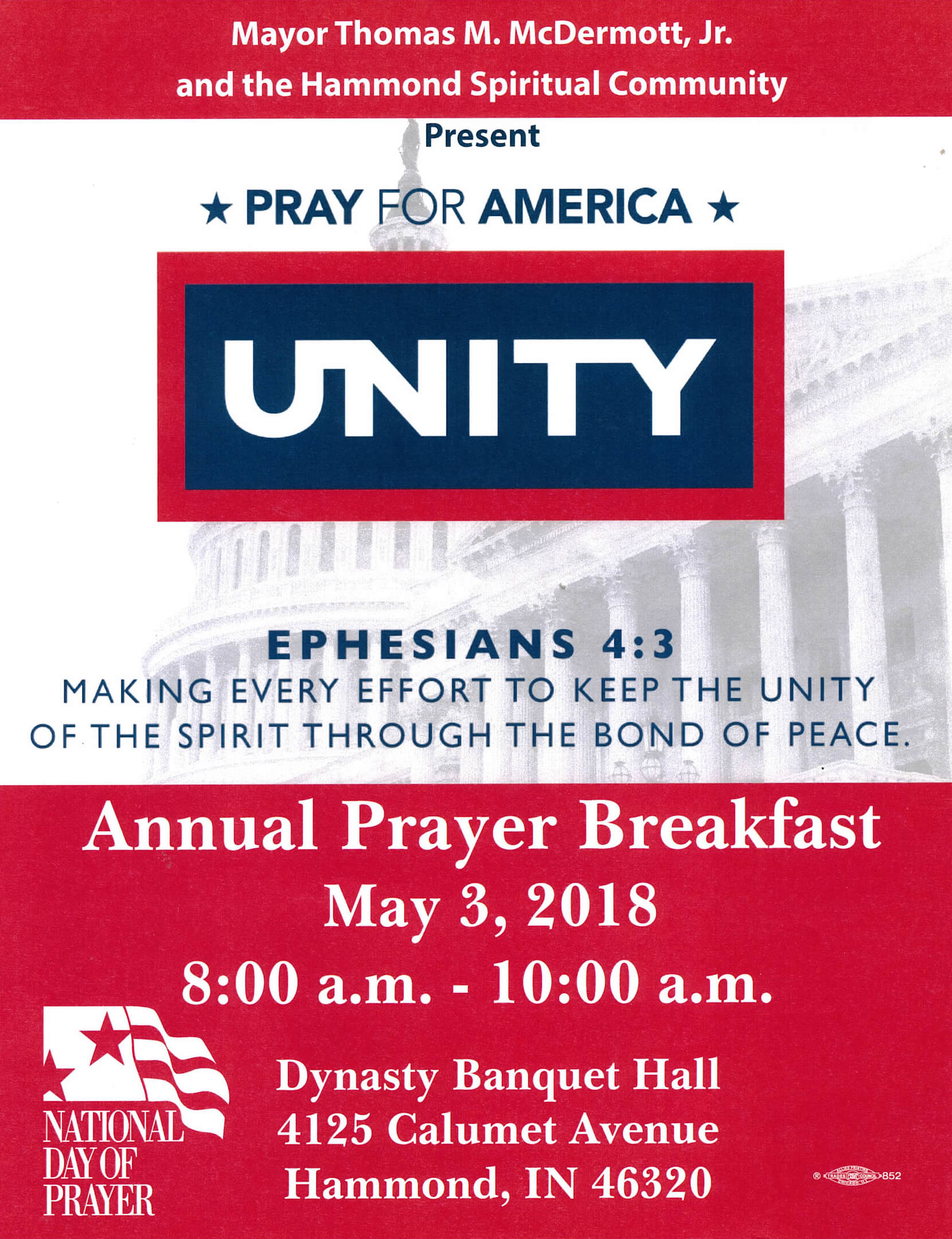 Mayor Thomas M. McDermott, Jr. and the Department of Community Development, will host the 2018 Annual National Day of Prayer.