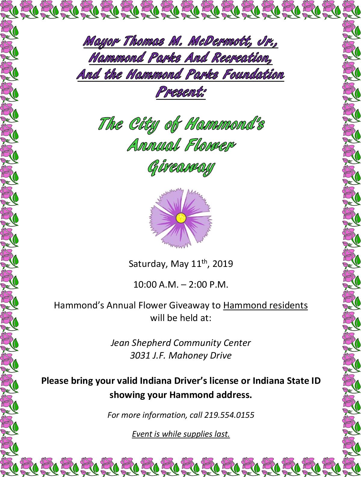 Hammond's 2019 Flower Giveaway
