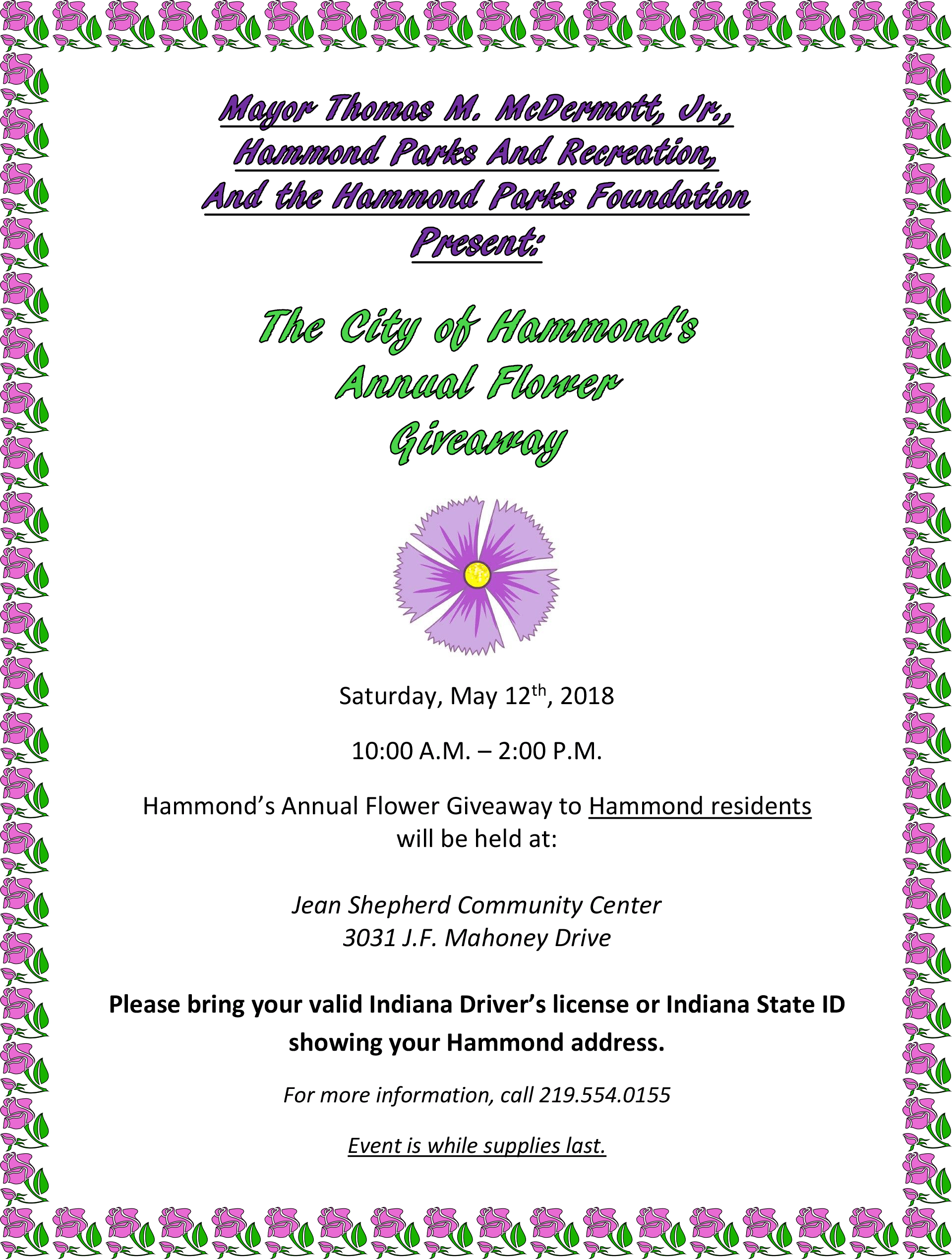 Hammond's 2018 Flower Give Away