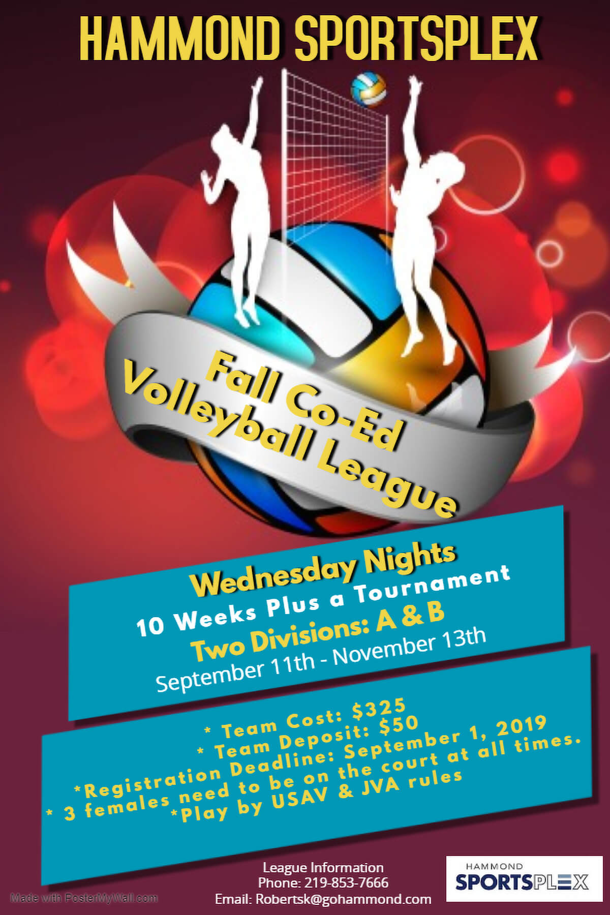 Hammond Sportsplex to Host Co-ed Fall Volleyball League