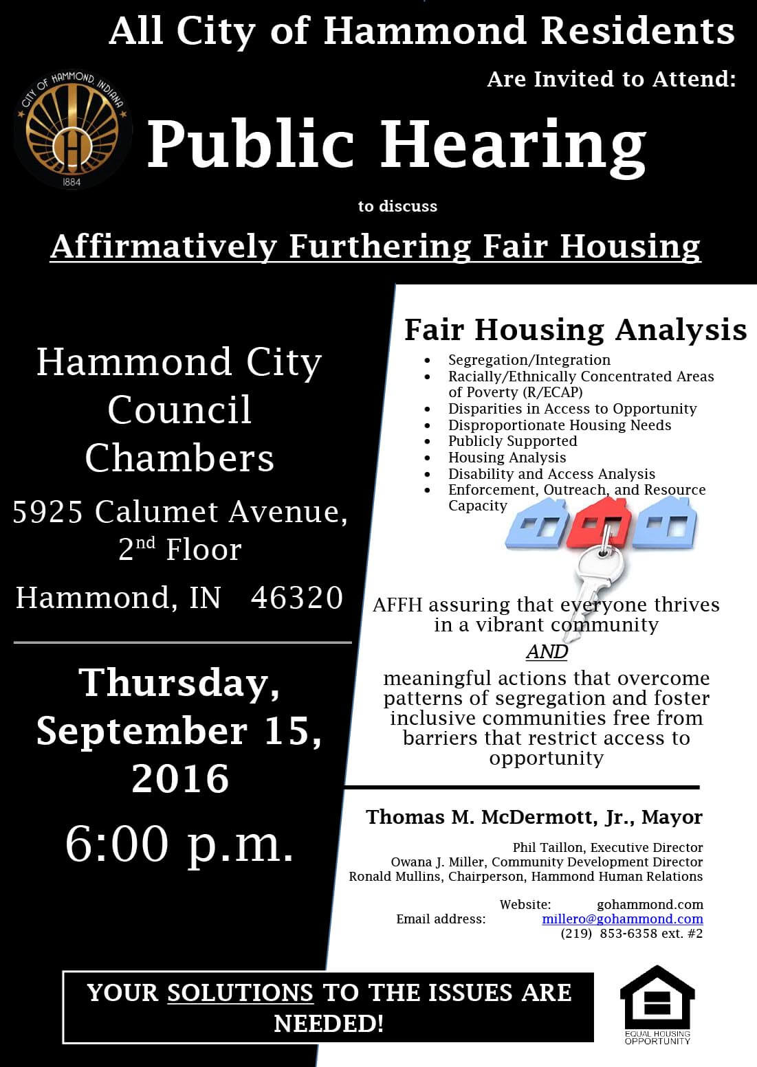 Public Hearings to discuss Affirmatively Furthering Fair Housing