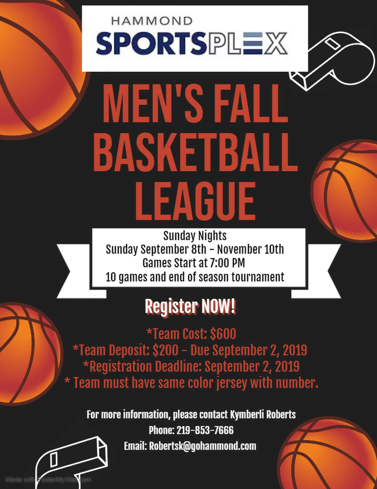 Hammond Sportsplex to Host Men's Fall Basketball League