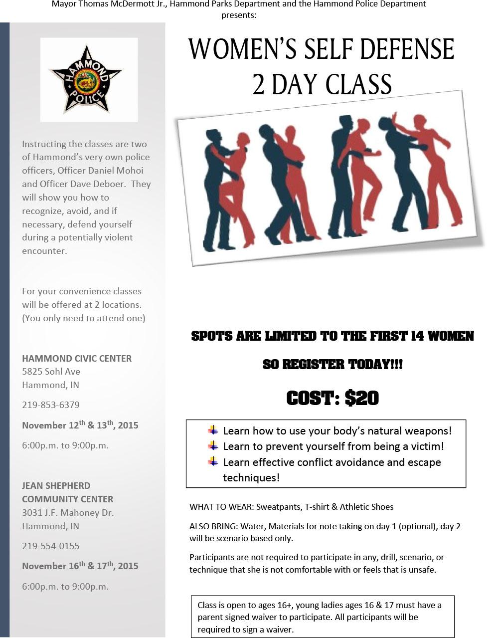 Women's 2 Day Self Defense Class
