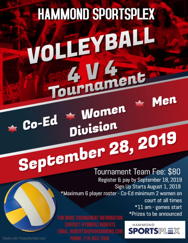 Hammond Sportsplex to Host Co-ed 4 V 4 Volleyball Tourney