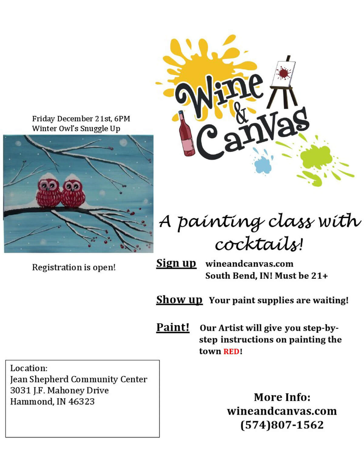 """Wine & Canvas"" Returns to Hammond in January"