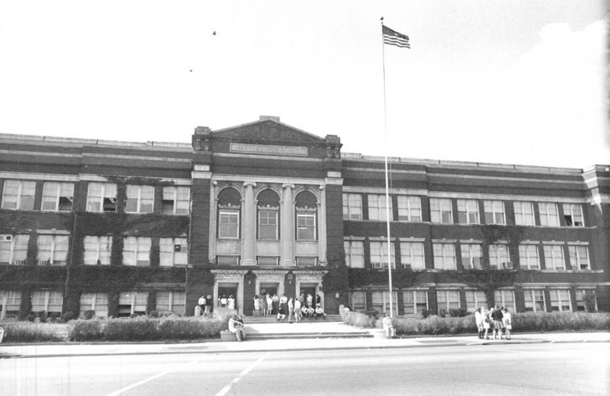 Front of Hammond High prior to fire, circa 1960