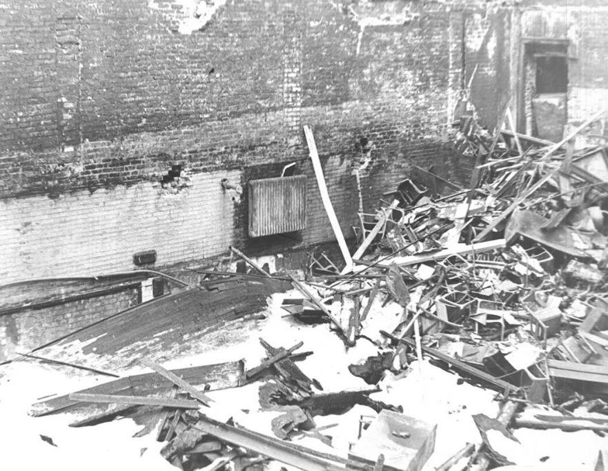 Interior damage to Hammond High School due to fire, 1967