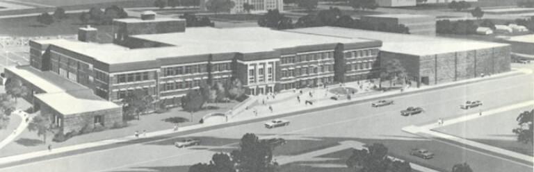 Hammond High external renovation completed after the fire, circa 1970
