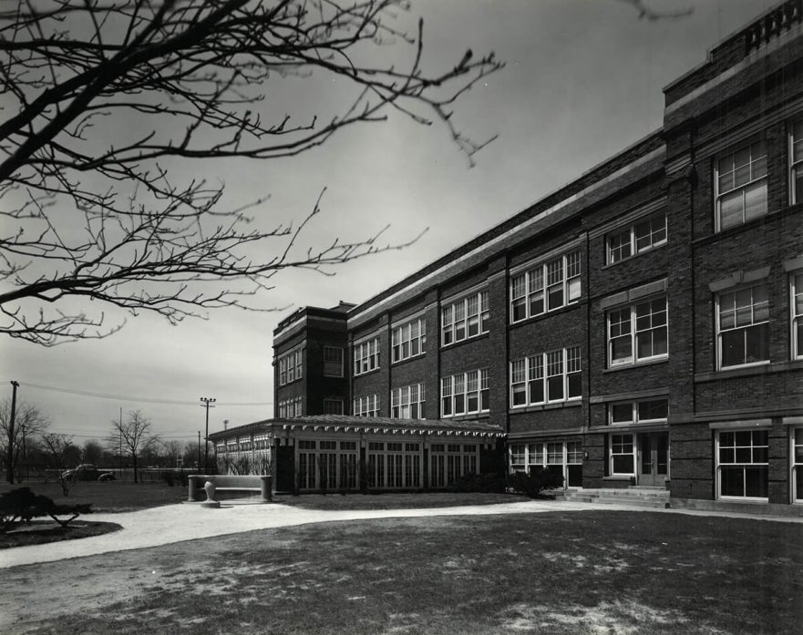 Hammond High School, South side featuring a sunroom, circa 1940
