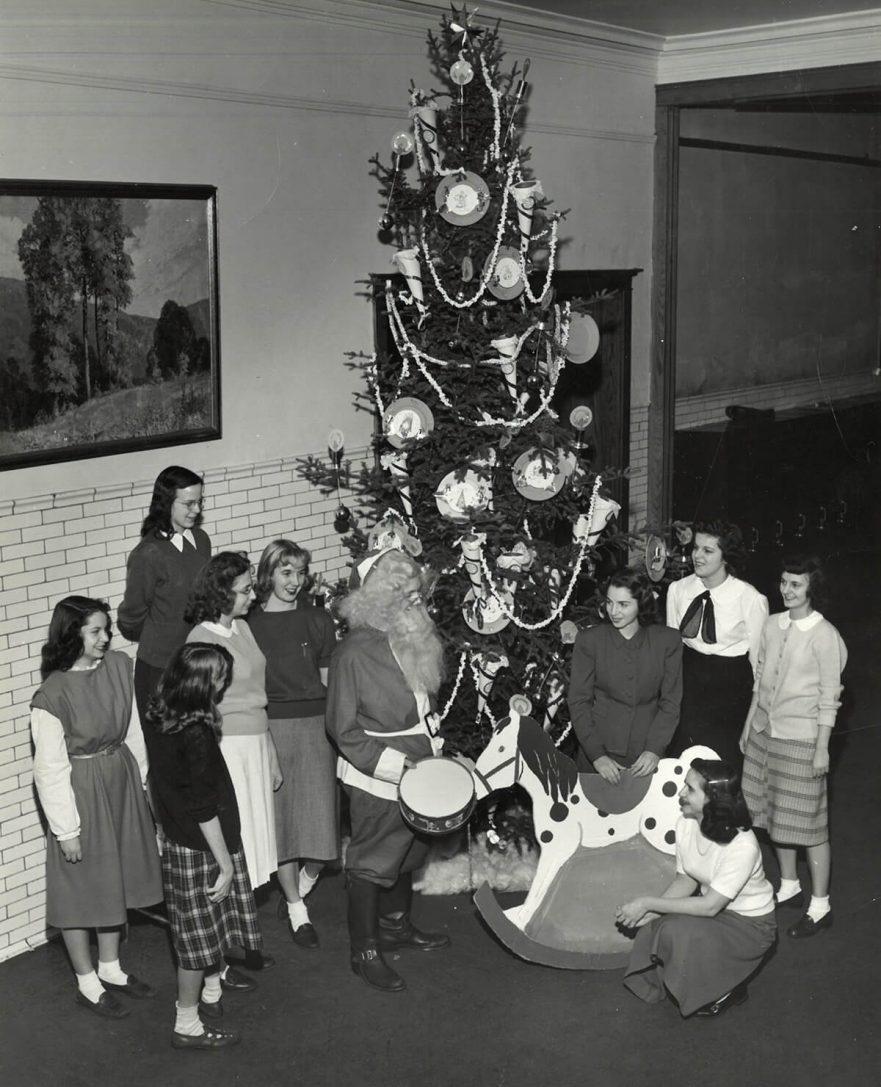 Christmas tree in Hammond High School, circa 1950
