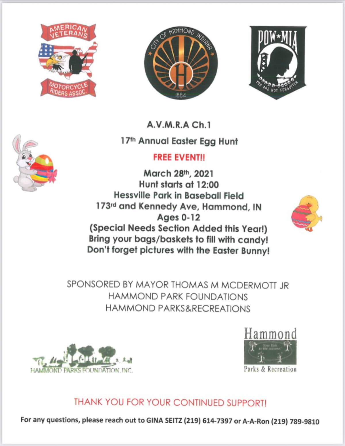 American Veterans Motorcycle Riders Association, Hammond Parks & Recreation and Hammond Parks Foundation invite you to attend our 16th Annual Easter Egg Hunt.