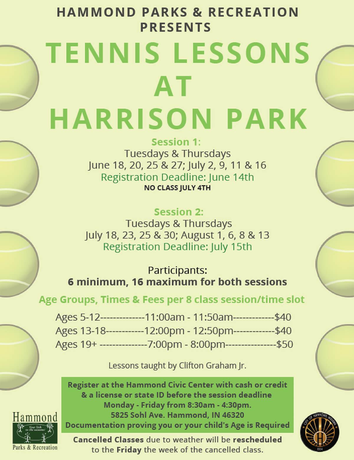 Tennis Lessons at Harrison Park