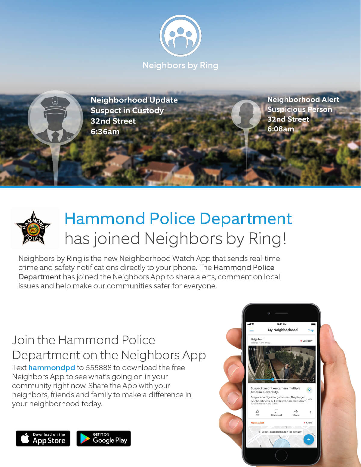 Hammond Police Department among first in the State to Join 'Neighbors' App by Ring