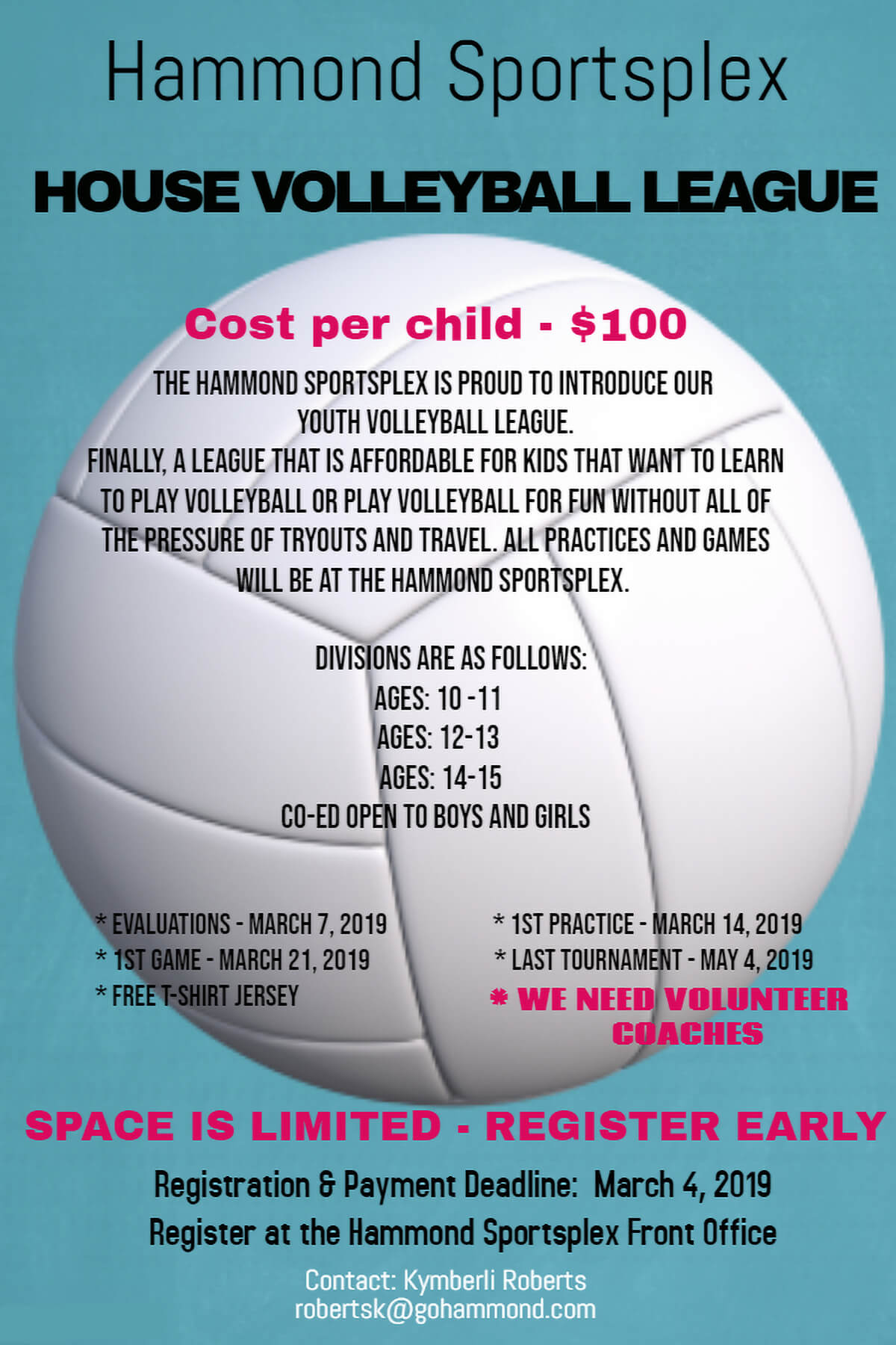 Hammond Sportsplex to Host House Youth Volleyball League