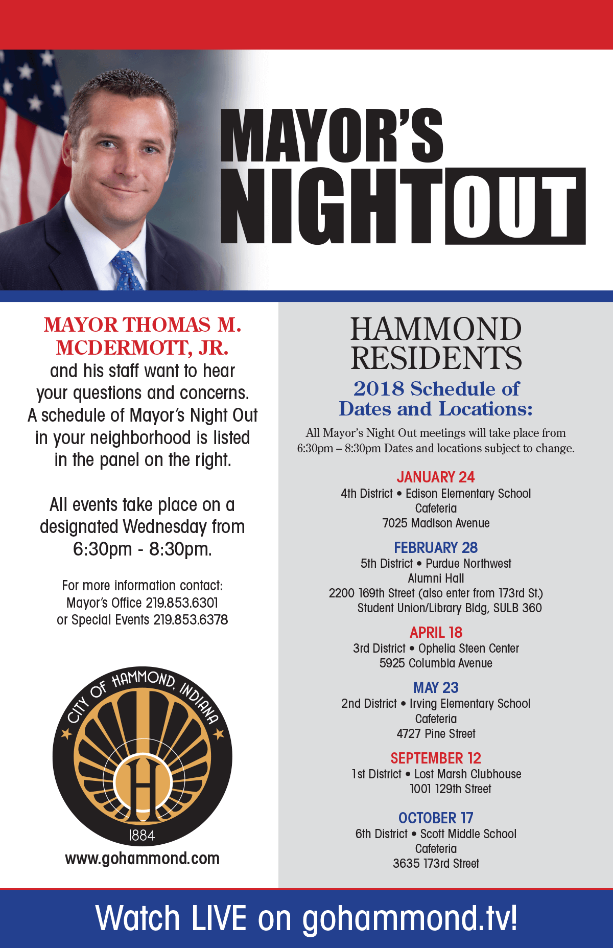 Mayor's Night Out Schedule
