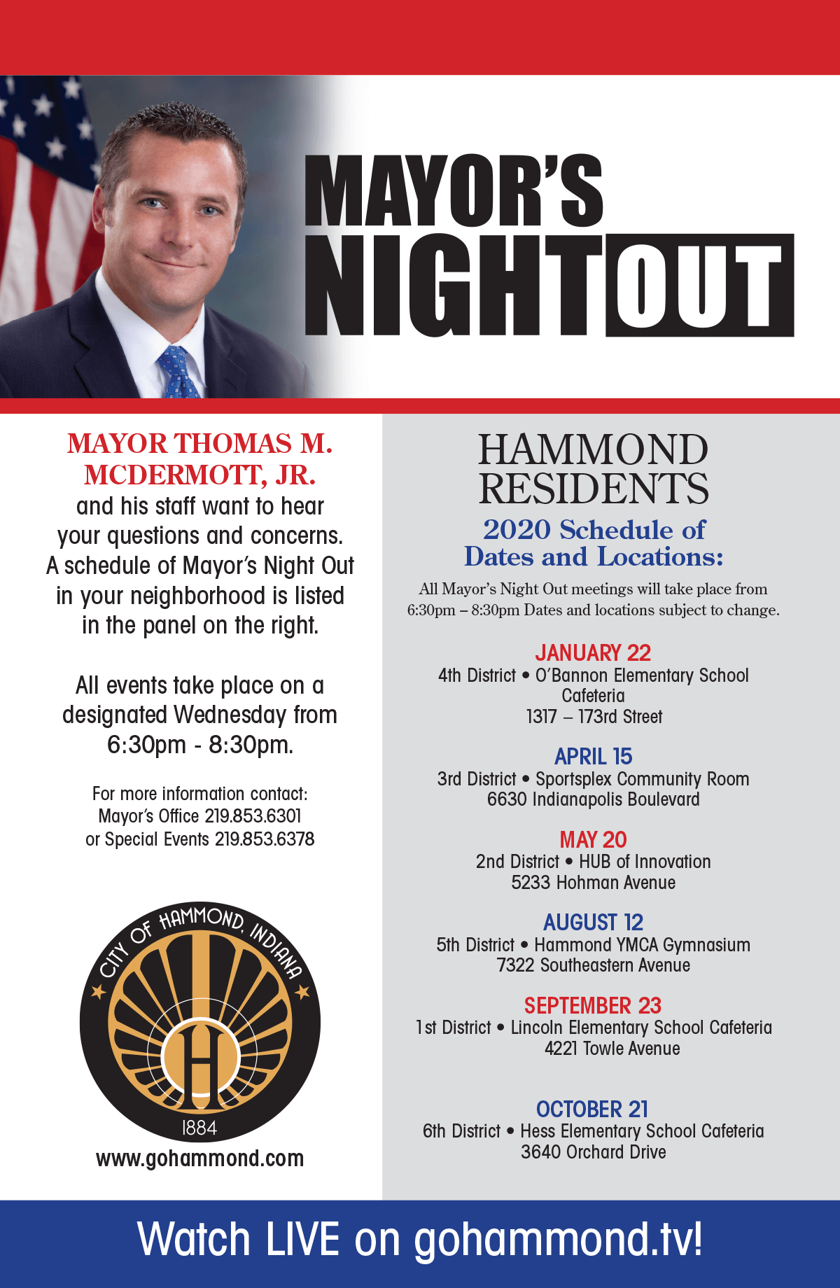 2019 Mayor's Night Out Schedule