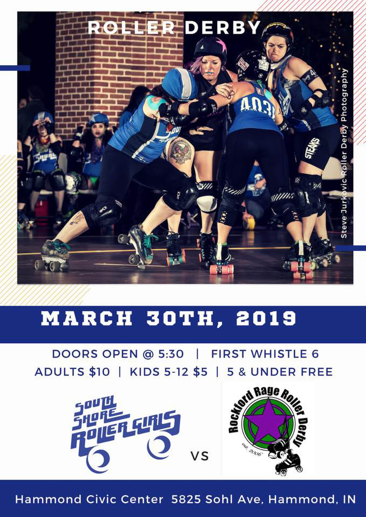 the South Shore Roller Girls back to Hammond as they open their season at the Hammond Civic Center on Saturday, March 30.