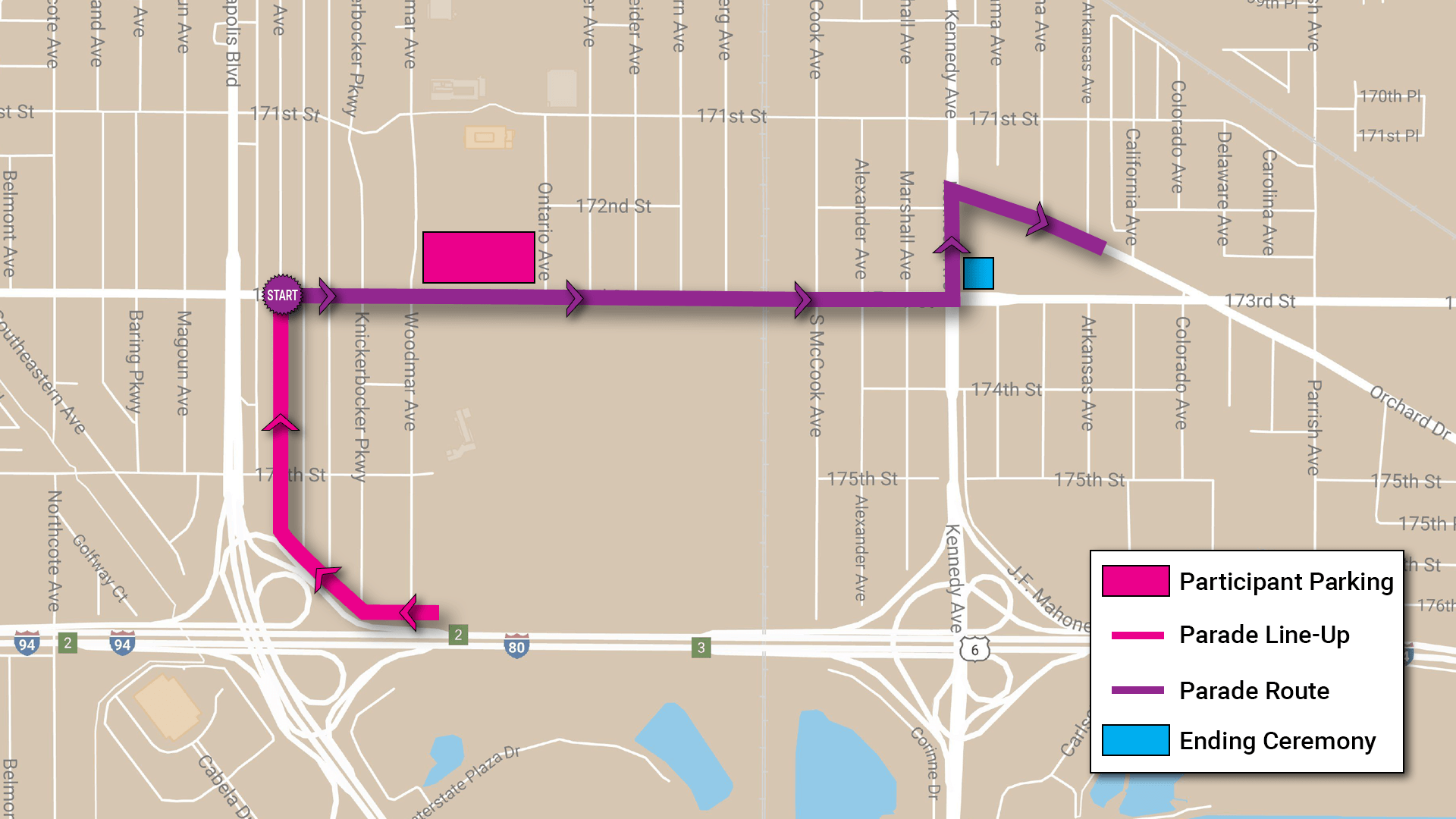 Veterans Appreciation Day Parade Route